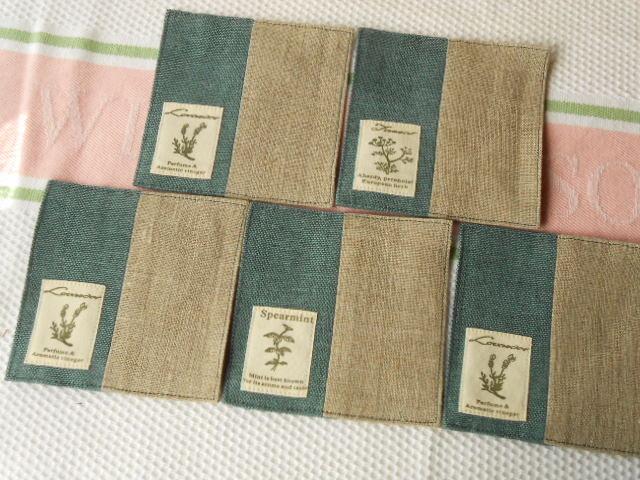 綿麻ブルーグリーンとベージュリネンのコースター5枚セット