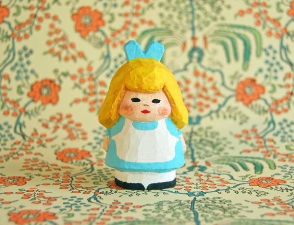 木彫り人形 不思議の国のアリス3 4セ...