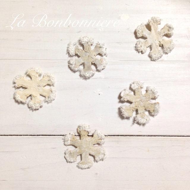 白樺 雪のブローチ  2個セット