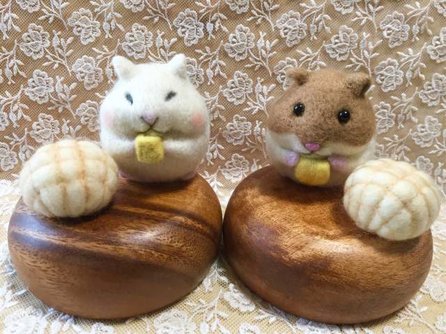 羊毛フェルト ハムスターとメロンパン
