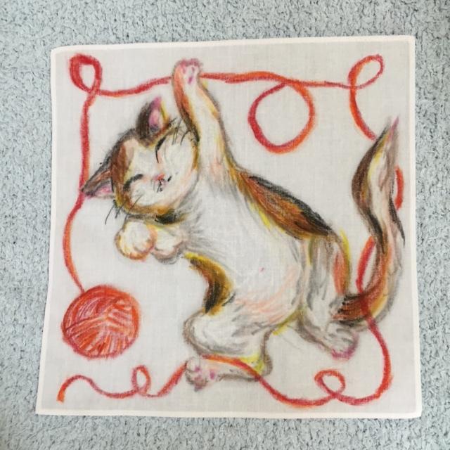 手描きハンカチ 三毛猫