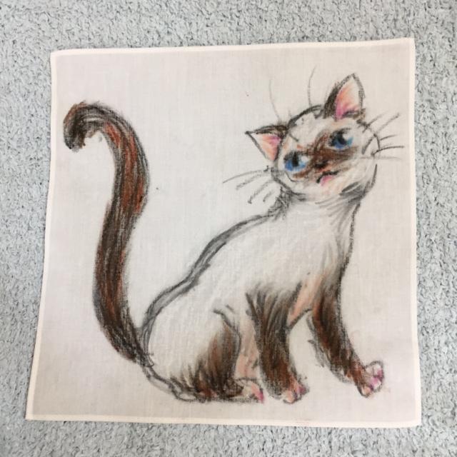 手描きハンカチ おすまし猫 トンキニーズ