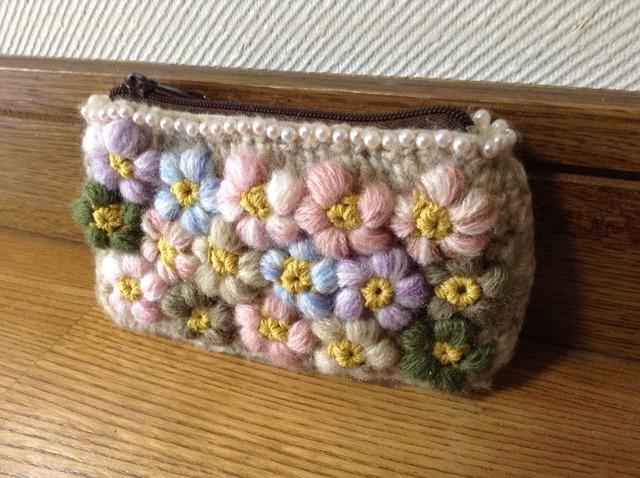 お花いっぱいミニポーチ