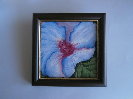 葵の華の額付き絵皿