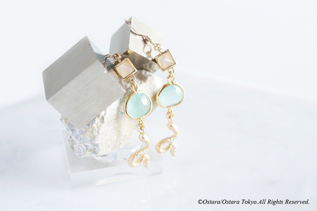 【14KGF】Matt Gold Snake Earrings,-Mi...