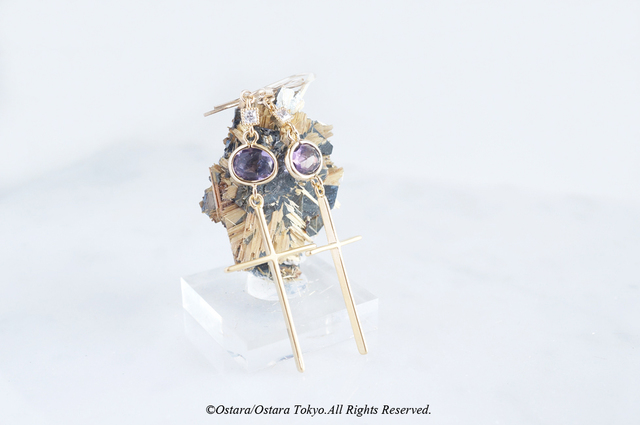 【14KGF】Cross Earrings,- Amethyst&Cu...