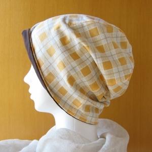 ゆるいリバーシブル帽子 茶/オレンジチェック(CSR-004-C)
