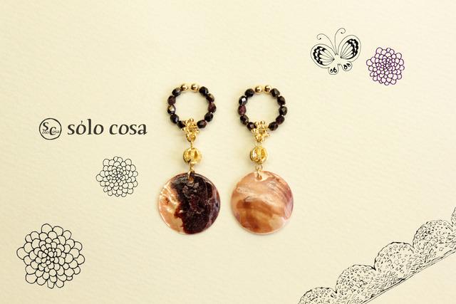 ピンクの貝殻のキラキラフープイヤリング
