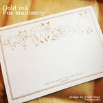 Gold ink  Fox stationery