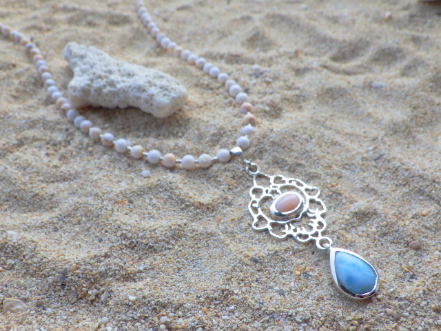 Coral& Larimar Beach Necklace??sv925??