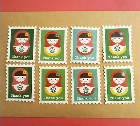 切手型水貼りシール(マトリョーシカ)
