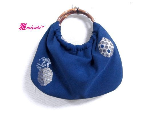 紺地ラメ刺繍夏のふっくら着物地バッグ