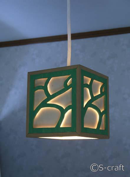 木製のペンダントライト(緑) 送料無料