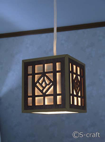 木製のペンダントライト(茶)送料無料