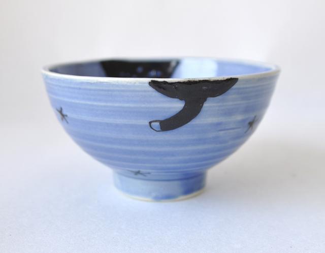 黒猫茶碗 青