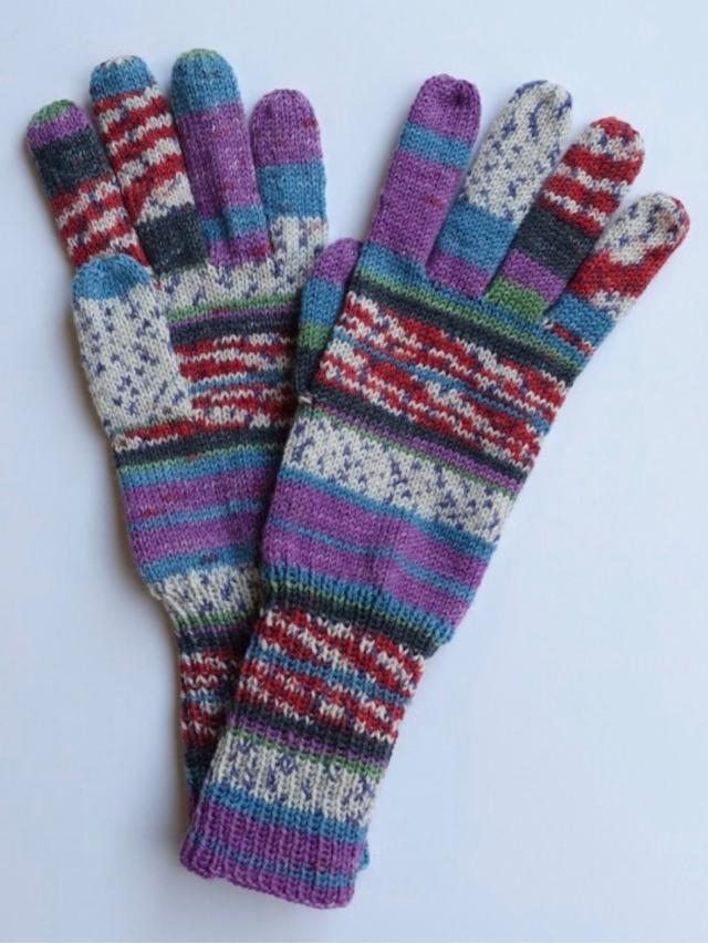 手編み5本指手袋 No.55