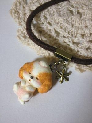茶×白たむーちょと雪の結晶(金コビ)ゴム