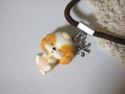 茶×白たむーちょと雪の結晶(銀コビ)ゴム