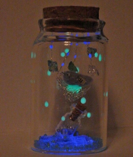 しあわせの青い鳥ボトル-M  三日月と星...