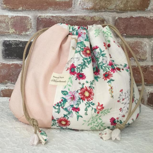 ふっくらかわいい巾着袋(花柄ピンク大)