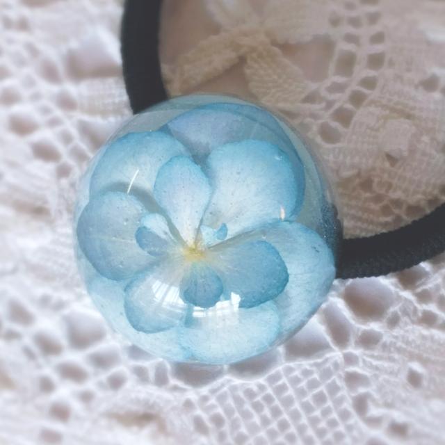 紫陽花のヘアゴム ブルー×ホワイト