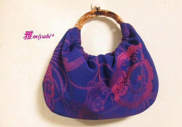 艶やか紫夏のふっくら着物地バッグ