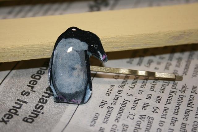 手書き★アデリーペンギンのヘアピン