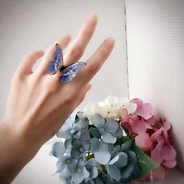 煌めく紫陽花ヘレナモルフォのリング@ブ...