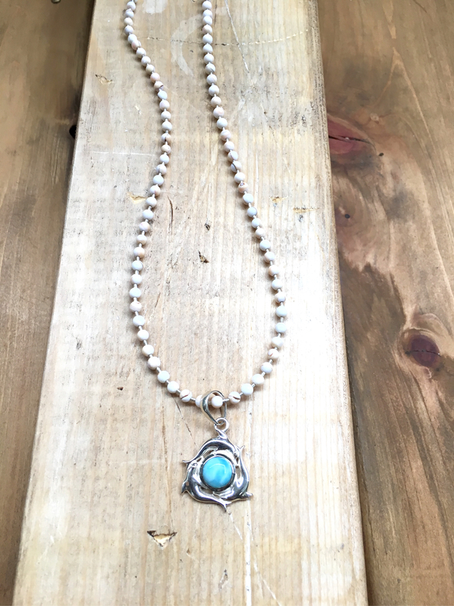 Larimar Dolphin Necklace ??sv925??