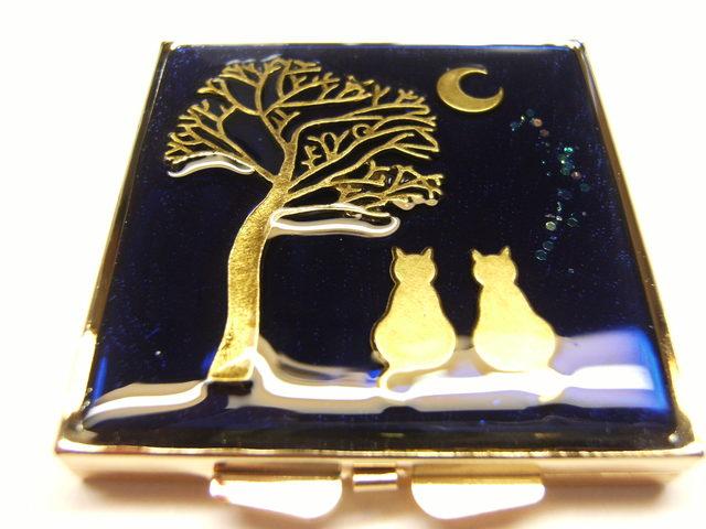 月と猫 コンパクトミラー(四角ゴールド)