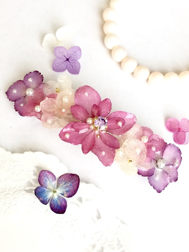 季節の紫陽花のバレッタ ☆限定1点☆