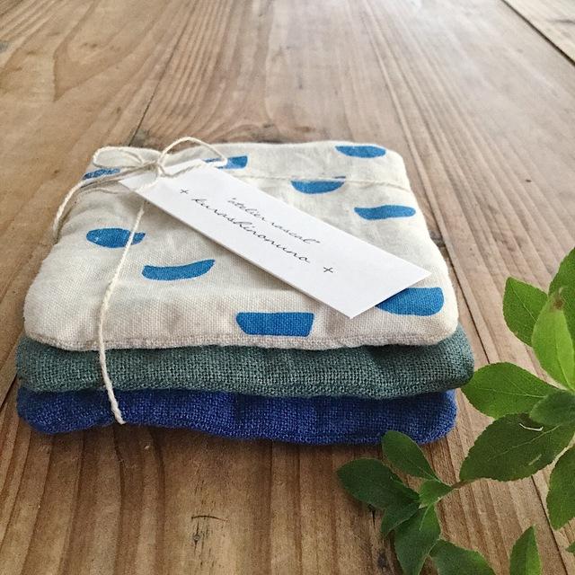 暮らしの布*コースター3枚SET