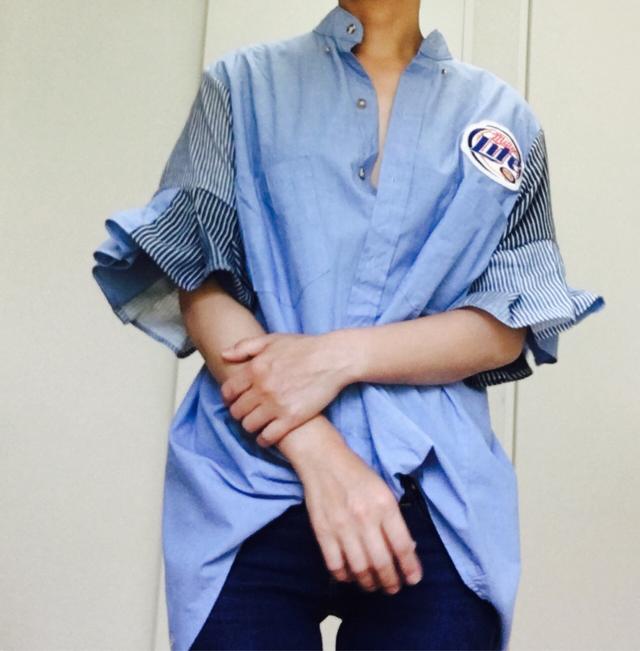 襟抜きワークシャツブラウス