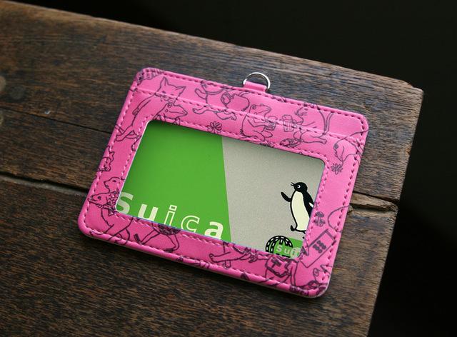 猫カエルだらけ パスケース(ピンク)