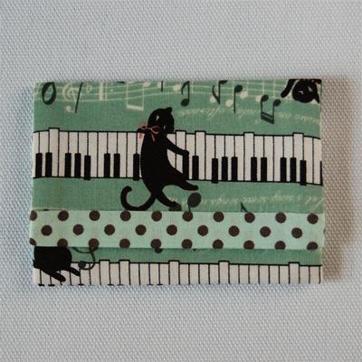 布製カードケース(ねこピアノ+ミント&茶水玉)