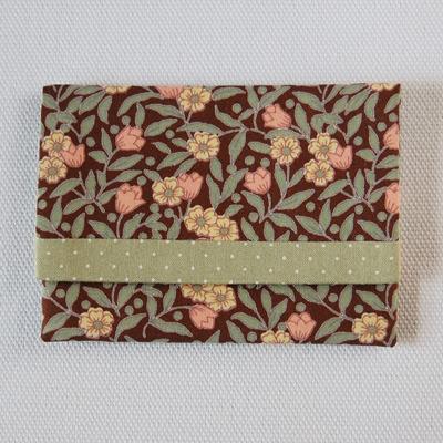 布製カードケース(小花柄+薄緑水玉)