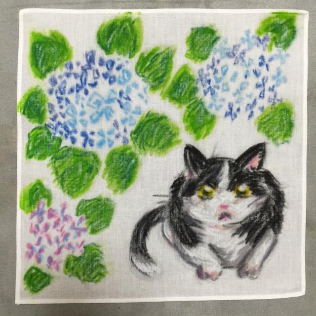 手描きハンカチ 紫陽花とハチワレ猫