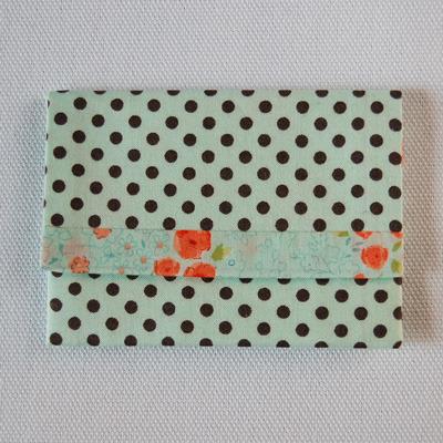 布製カードケース(ミント&茶水玉+ミント&オレンジ花柄)