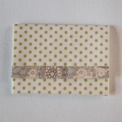 布製カードケース(白&薄緑水玉+グレ...