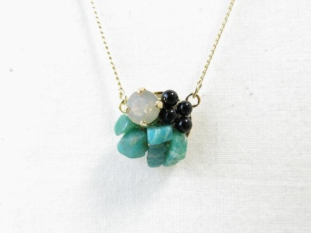 天然石×スワロのコラージュネックレス No.537