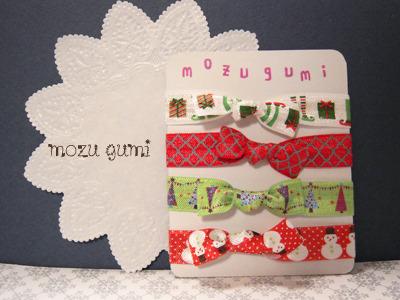 クリスマス柄のヘアタイ(組み合わせ自由・4本セット・プレゼント付き)