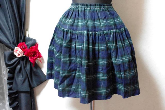 起毛 タータンチェック ティアードスカート 47