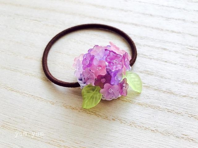 艶やか紫陽花ヘアゴム