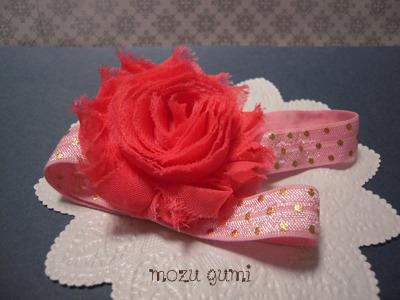 【お子様用】コーラルピンクのお花+ピンク×シルバー(ドット)ヘアーバンド