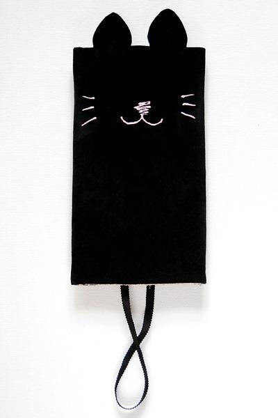 ねこ財布-黒(別珍の手縫い財布)