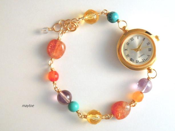 *サイズ調整可*14kgfジュエリー腕時計...