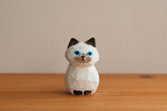 木彫り人形 ねこ ポイント模様 [MWF-006]