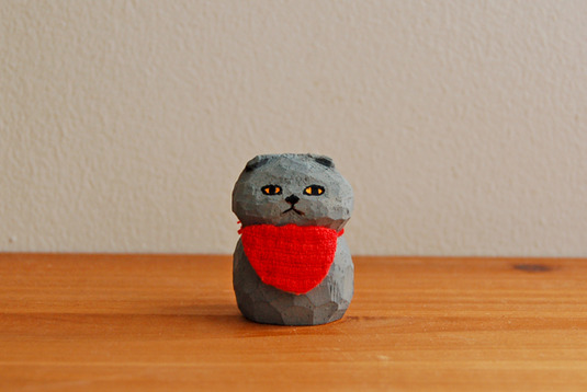 木彫り人形 スコティッシュ グレー [MWF-008]