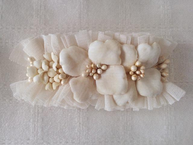 染め花の紫陽花バレッタ(ホワイト)