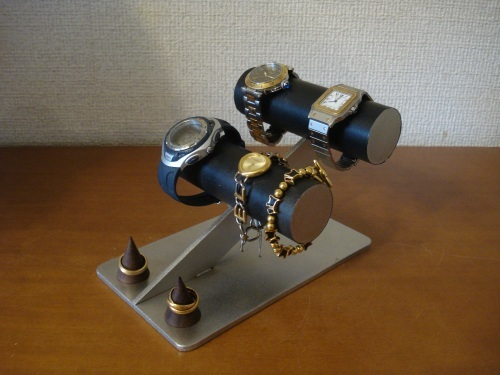 ブラック腕時計ケース風4本掛け腕時計スタンド ダブル木製リングスタンド付き